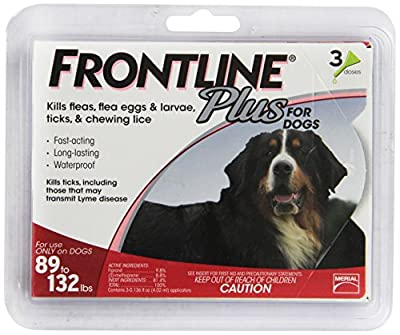 Merial Frontline Plus Flea and Tick Control for 89 to 132-Pound Dogs and Puppies, 3-Pack