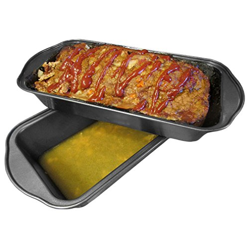 Evelots 2 Piece Non Stick Meatloaf Pan Drains Fat As It Cooks - Cooking & Baking (Drain Pan For Cooking compare prices)