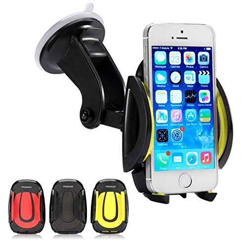Moko Universal Easy One Touch Car Mount - 360 Degree Rotation Windshield Dashboard Cradle Holder For Iphone 6 / 6 Plus / 5 / 5S / 5C / 4S / 3G / 3Gs, Samsung Galaxy S5 / S4 / S4 Active / S3 / S3 Mini / S2 / Note 4 / Note 3 / Note 2, Galaxy Mega, Htc One,