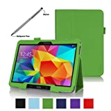 ProCase Samsung Galaxy Tab 4 10.1 Tablet Case with bonus stylus pen - Bi-Fold Stand Cover Case for 10 inch Galaxy Tab 4 (2014 released), with auto Sleep/Wake, Hand Strap, also compatible with Galaxy Tab 3 10.1 (Green)