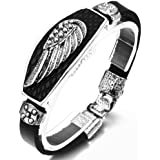 JewelryWe Bijoux Bracelet Homme Aile d'Ange Vintage Cuir Alliage Fantaisie Couleur Argent Noir Longueur 20cm Avec Sac Cadeau