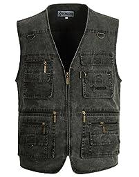 Chantye Men\'s Multi-Pockets Outdoors Plus Size Vest Grey