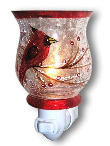 Red Cardinal Bird Night Light - Hand painted Glass Shade - Songbirds