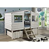 Donco Kids Twin Tree House Loft Bed Rustic Sand 1380-TLRS