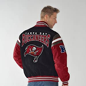 Officially Licensed NFL Suede Jacket- Tampa Bay Buccaneers - LARGE by G-III Sports