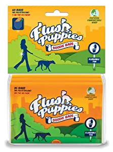 Flush Puppies Doodie Bags, Flushable & Certified Compostable, 3 On-the-Go Packs (60 Bags)