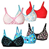 Lime Fashion Cotton Full Covered Bra (Combo of 6 - Multicolour)