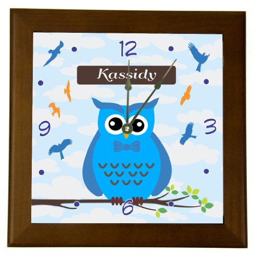 """Rikki Knighttm """"Kassidy"""" Name - Cute Blue Owl On Branch With Personalized Name Design 6"""" Wood Framed Art Wall Clocks Desk Clocks front-611597"""
