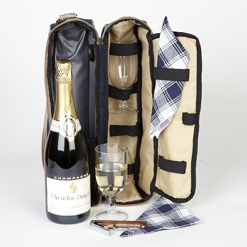 Champagne Picnic cool bag at the races - Champagne gift with two picnic glasses and napkins