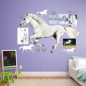Buy fathead white horse running real big wall decor online Low cost wall decor
