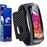 ArmorSuit MilitaryShield - Samsung Gear Fit Screen Protector + Black Carbon Fiber Full Body Skin Protector / Front Anti-Bubble Ultra HD - Extreme Clarity & Touch Responsive Shield with Lifetime Free Replacements - Retail Packaging