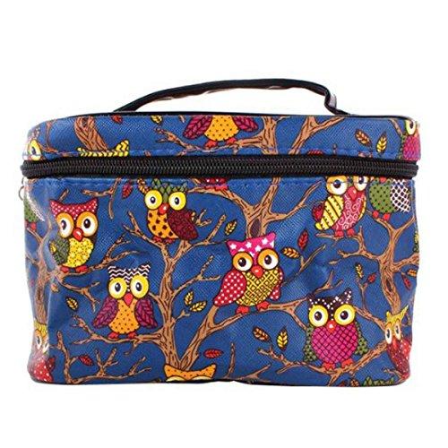 DAYAN Multifunzione viaggio e cosmetico Organizzatore borsetta gufo borsa color blu marino