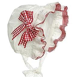 Hanakimi® Birth Royal Baby Bonnet Handmade (Newborn - 3 Years) (L/24M, Red)