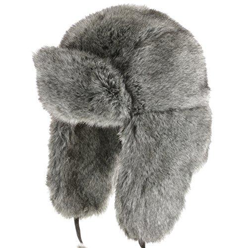 Huskie Ushanka Soft Faux Fur Trapper Winter Hat Ear Flaps Men And Women Grey 7 1/4 front-339651