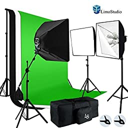 LimoStudio Photo Video Studio 2400W Softbox Boom Lighting Kit with Photograpghy Studio Chromakey Green, Black White Backdrop Background Support Kit 10x10 ft, AGG897