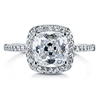 BERRICLE Cushion Cut Cubic Zirconia 925 Sterling Silver Halo Promise Engagement Wedding Ring Band 1.67 Ct by BERRICLE