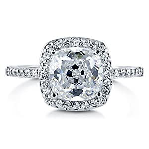 BERRICLE 925 Sterling Silver Cushion Cut Cubic Zirconia CZ Halo Women Engagement Wedding Bridal Ring from BERRICLE