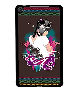PrintDhaba Music Girl D-2523 Back Case Cover for ASUS GOOGLE NEXUS 7 2013 (Multi-Coloured)