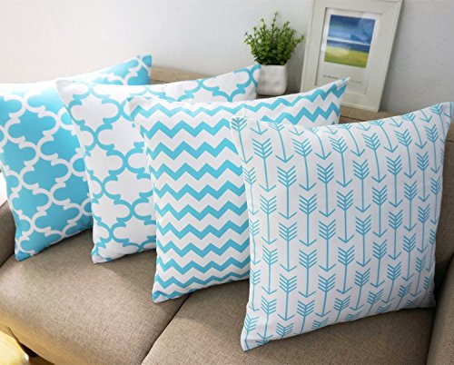 Light Blue and White Howarmer Cotton Canvas Decorative Throw Pillow Cover for Couch Set of 4 Accent Pattern 18X18-Inch (Light Blue Pillows Decorative compare prices)