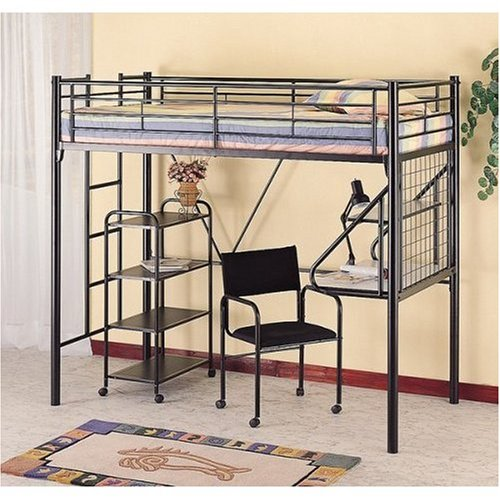 Twin Bunk Bed: Black Metal Bunk Bed w/ Lamp Desk, Chair and Bookcase