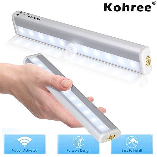 Kohree® Super Bright Wireless 10 Led Pir Motion Sensor Light For Cabinet Drawer Warrdobe Closet Cupboard, Battery Operated