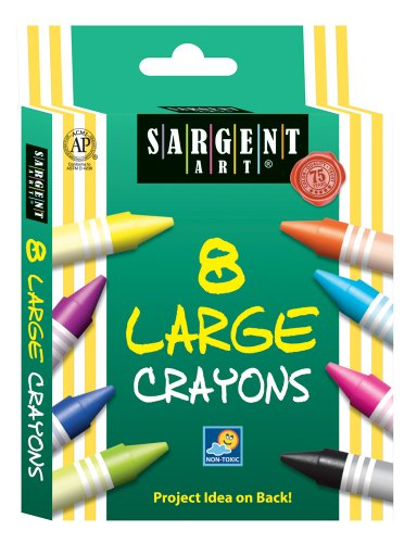 Sargent Art 55-0961 8-Count Large/Jumbo Crayon, Peggable