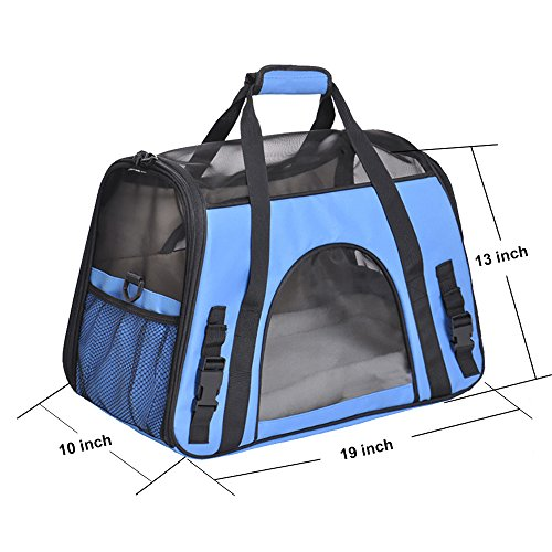 Pet Carrier, PYRUS Soft-Sided Kennel Cab Folding Soft Dog Crate Pet Travel Carrier Bag for Dogs Cats and Puppies ( Blue )