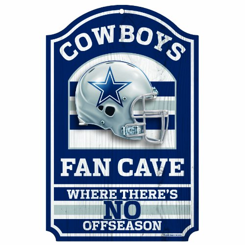 "NFL Dallas Cowboys 11-by-17 inch ""Fan Cave, No Offseason"" Wood Sign at Amazon.com"