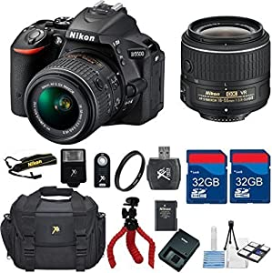 Nikon D5500 DX DSLR + 18-55 VRII Lens + 64GB In Memory +Deluxe Camera Carry Case + Flexible Tripod + UV + Digital Flash + Wireless Shutter Remote + 6pc Starter Kit - International Version