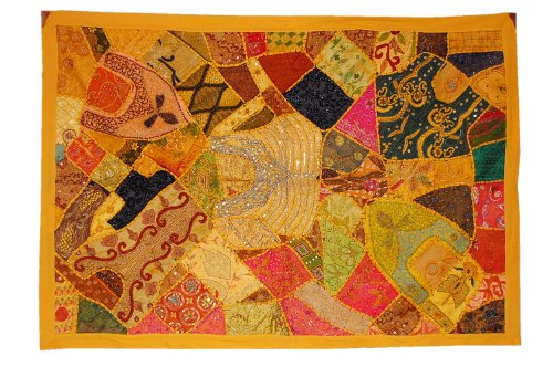 Linens India Direct Antique Designer Hanging Wall Tapestry with Heavy Zari, Embroidery  &  Old Sari Patchwork, 152 X 102 Cm