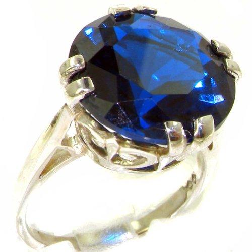 英国製 925 シルバー 大粒 合成 サファイア レディース リング 指輪 サイズ 9 各種サイズあり