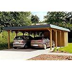 Doppel-Carport Walmdach SAUERLAND V - 600 x 800cm Carport + Geräteraum Walmdachcarport