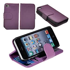 Hanicase WALLET STYLE PU FOLIO LEATHER CASE WITH 3 CARD SLOTS COVER FOR IPHONE 5 (PURPLE)