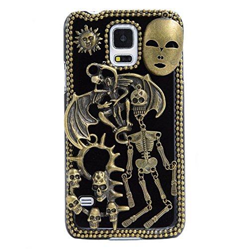 Spritech(TM) 3D Personality Devil Skull Decor Bronze-colored Hard Caver Case for Samsung Galaxy S5 Mini
