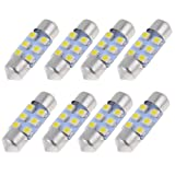 "8pcs 31mm 1.25"" 1210 White SMD 6 LED Festoon Dome Light DE3175 DE3022"