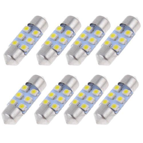 "uxcell® 8pcs 31mm 1.25"" White SMD 6 LED Festoon Dome Light"