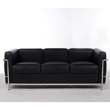 Sofa Lecor 3 plazas semipiel - MSD15396021 - Negro, Acero