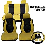 Kia Picanto Venga Universal Car Seat Cover Full Set Styling Pack Black/Yellow