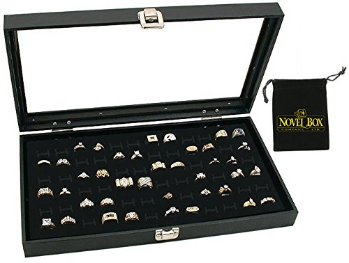 Novel Box® Glass Top Black Jewelry Display Case 72 Slot Compartment Ring Tray + Custom NB Pouch (Box Organizer Insert compare prices)