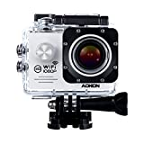 Aokon Sports Action Camera Cam WIFI Waterproof Camera 1080P 12M HD Helmet Motorcycle Video Underwater Cam - 170°Wide Angle Lens - 2.0 Screen - 4X Zoom - 2 Batteries & 18 Accessories Kit (White)