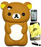 BUKIT CELL (TM) BROWN Bear 3D Cartoon Soft Silicone Skin Case Cover for IPOD TOUCH 4 4G 4TH GENERATION + Free Screen Protector + Free METALLIC Detachable Touch Screen STYLUS PEN with Anti Dust Plug+ Gift from BUKIT CELL (TM)