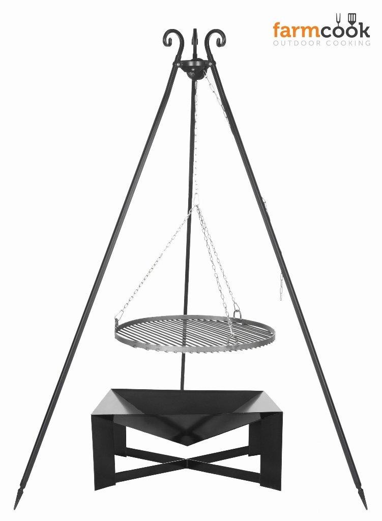 Dreibein Grill VIKING Höhe 180cm + Grillrost aus Rohstahl Durchmesser 50cm + Feuerschale Pan34 Länge 70cm Breite 70cm günstig online kaufen