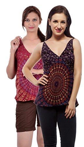 Set of 2 Indi Bargain Rayon Mandala Hand Block Soft Rayon Beachwear Top (204PurpleMaroon)
