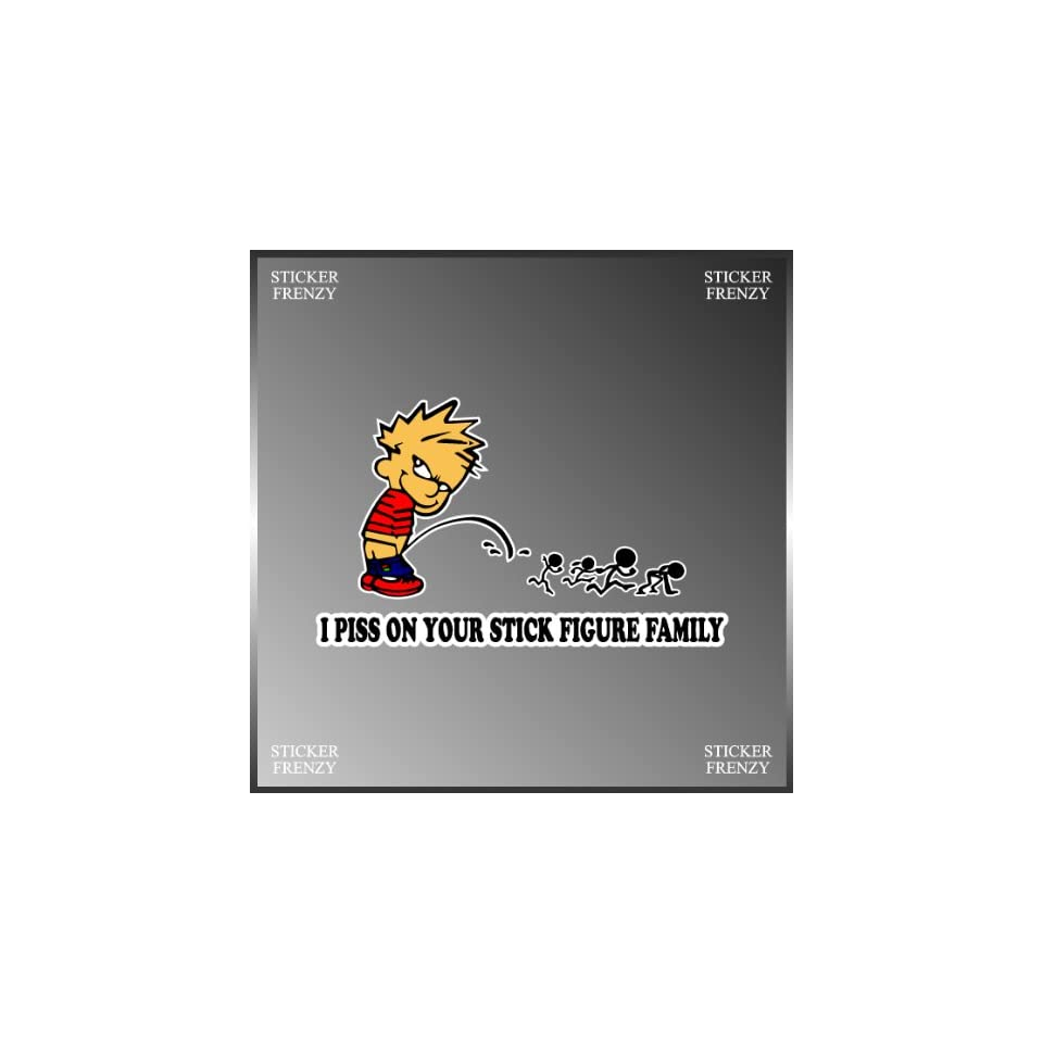 I Pee on Your Stick Figure Family Funny Design Vinyl Decal