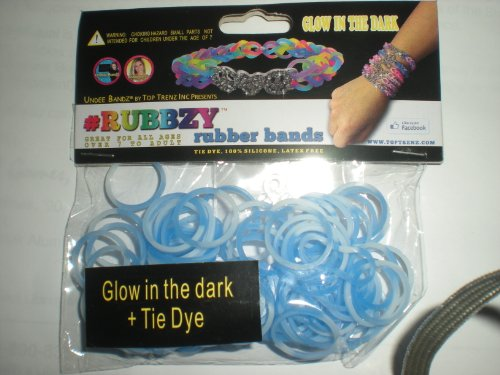 Rubbzy Blue & White Glow in the Dark Tie Dye 100 Loose Rubber Bands