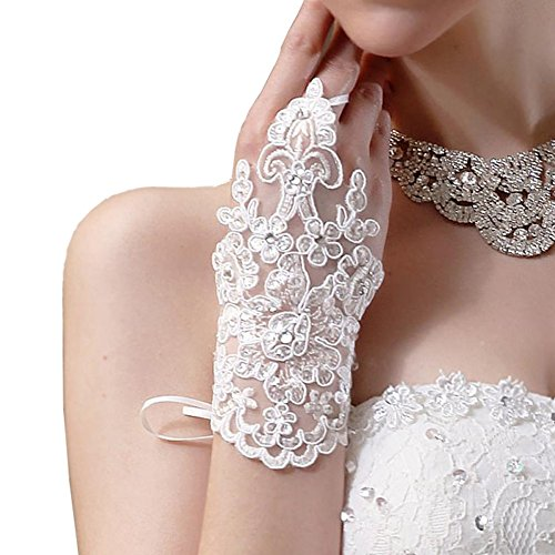 Newdeve White Short Lace Fingerless Rhinestone Bridal Gloves (White)