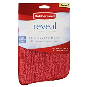 Rubbermaid Reveal Mop Microfiber Cleaning Pad, Red, 2 Pack