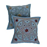 Rajrang Cotton Kantha Mirror Work Sofa Cushion Cover Set Of 2 Pcs