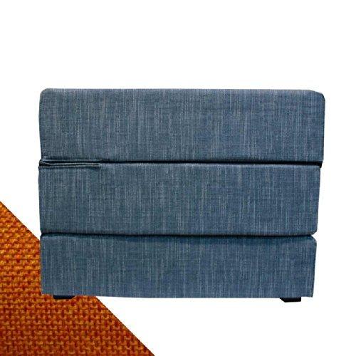 Arketicom TOUF, il Letto che diventa Puff, con Base in Jeans Azzurro e Fodera Esterna Arancione 80x63x45 cm (pouf puf pouff pouffe poggiapiedi)