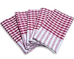 Jubination Red check kitchen cloth set of 12